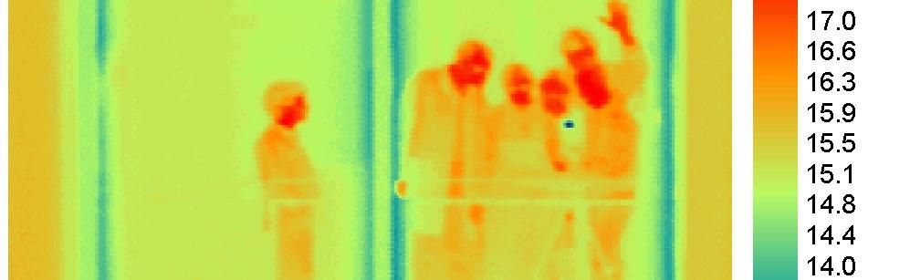 Thermogramm von mehreren Personen, die sich in einer Glasscheibe spiegeln