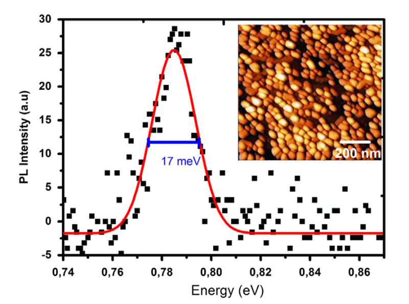 Abb. 2: Photolumineszenz-Spektrum einer in InAlGaAs eingeschlossenen InAs QP-Schicht, das bei 10 K gemessen wurde. Auf dem einliegenden Bild ist ein 1x1 µm² großer AFM Scan von unbedeckten selbstorganisiert gewachsenen QP zu sehen.