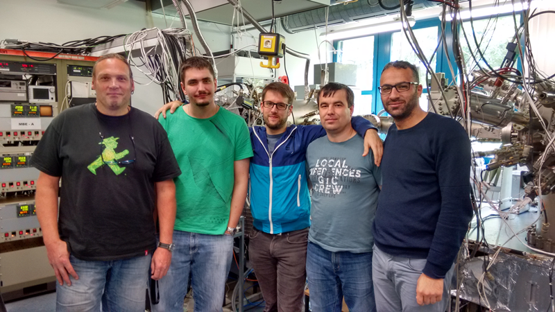 MBE team (July 2016). From the left: Dirk Albert, Sven Bauer, Marc S. Wolf, Vitalii Sichkovskyi, Saddam Banyoudeh.