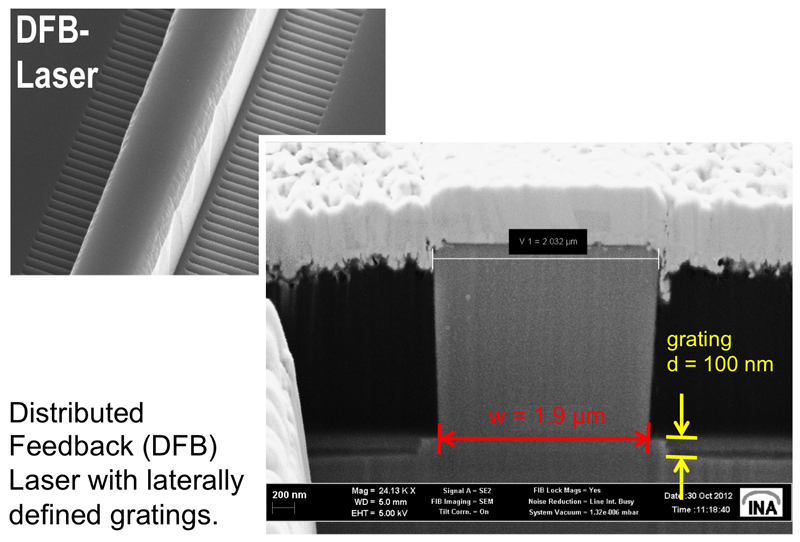 SEM views of ridge waveguide lasers with lateral feedback grating. The cross-cut was realized by a focussed ion beam system (dual-beam FIB).