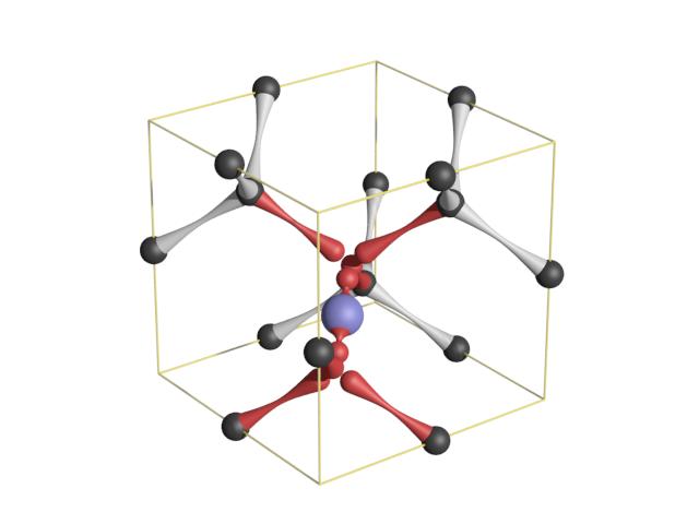 Fig. 6: Schema of a SiV center in the diamond crystal lattice.