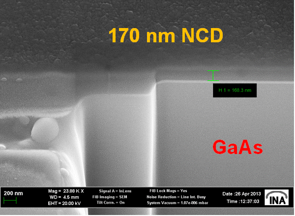 Fig. 10: NCD layer on top of GaAs substrates with surface and buried quantum dots.
