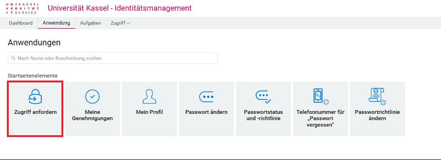 User-App Icon für Zugriff anfordern